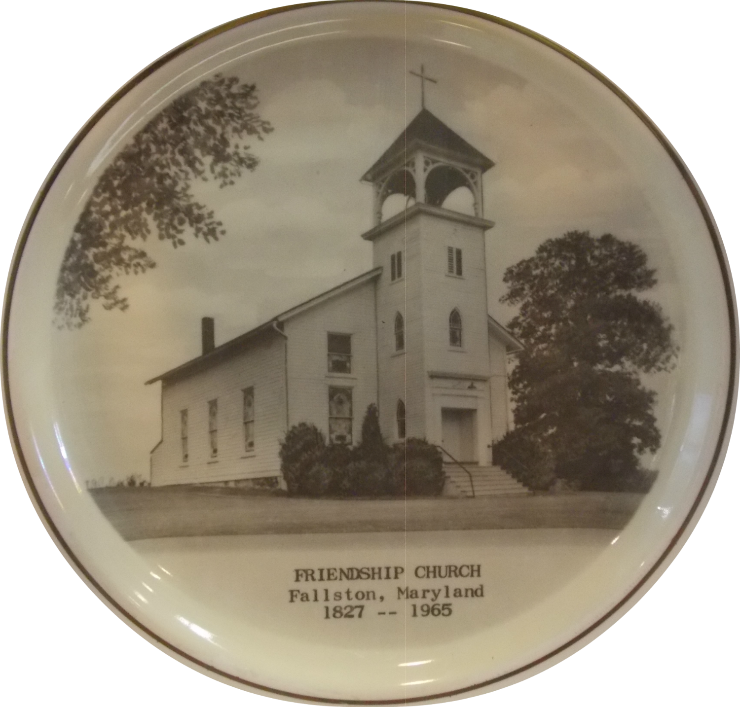 A plate with a historical picture of Friendship Church