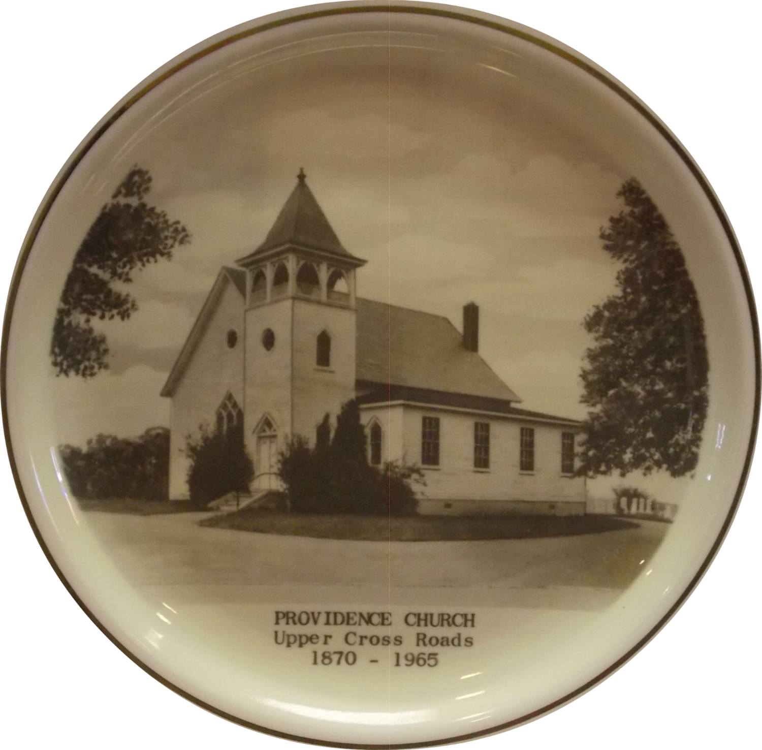 A plate with a historical picture of Providence Church